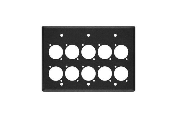 Elite Core EC-3G-10D Black Triple Gang Wall Plate with 10 D-Series Punch Outs