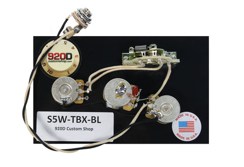 920D Custom S5W-TBC-BL 5-Way Wiring Harness for S-Style Treble Bass Cut w/ Blend