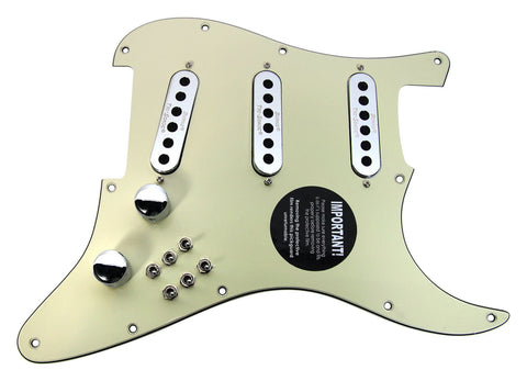 Burns London Mini Tri-Sonics Brian May Strat Loaded Pickguard Chrome Mint Green