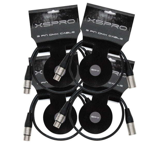 XSPRO XSPDMX3P5 3 Pin DMX DJ Light Cable 2' - 4 PAK