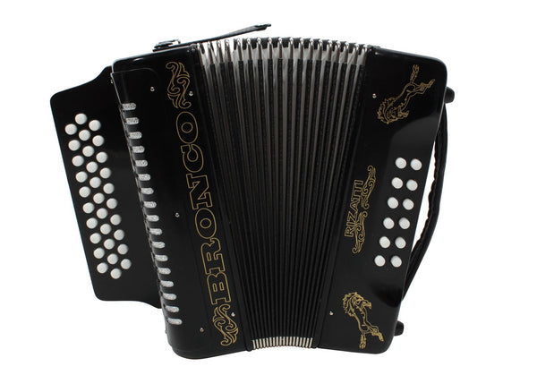 Rizatti Bronco RB31GB Diatonic Accordion - Black - Key G/C/F with Padded Bag
