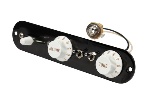920D Custom T3W-PR-B/W 3-Way T-Style Control Plate w/ Two Mini Toggles for P-Rails Control, Black / White