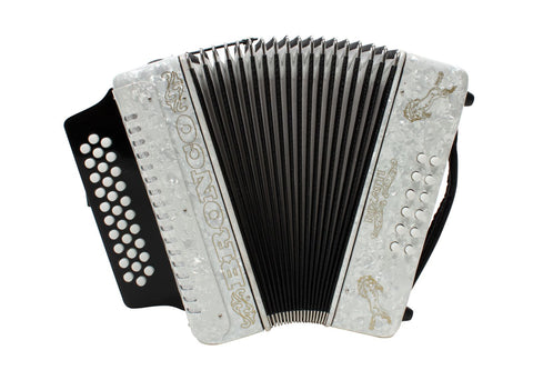 Rizatti Bronco RB31GW Diatonic Accordion - White - Key G/C/F
