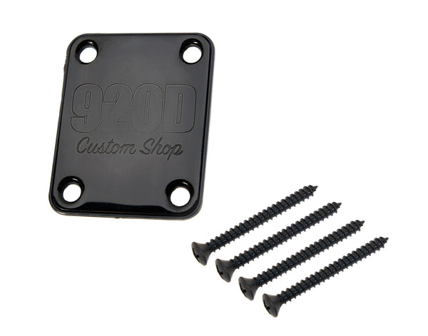 920D 4 Bolt Neck Plate with Gasket and Screws Fits Fender Strat and Tele Black