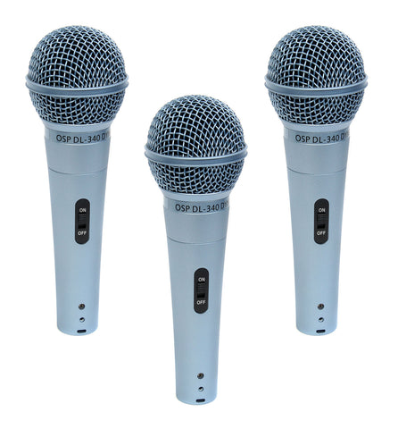3 Pack OSP DL-340 Dynamic Vocal Microphones - Blue