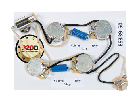 gibson wiring harnesses sigler music 920d es 339® 50 s wiring harness for gibson cts switchcraft pio paper in oil