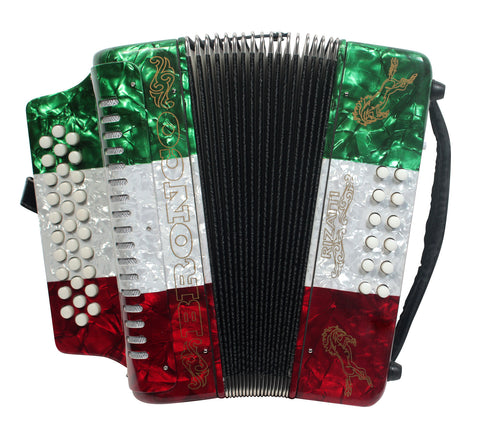 Rizatti Bronco RB31FM Diatonic Accordion - Mexican Flag - Key F/Bb/Eb