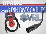 VRL DMX 3 Pin Cable 25' Length - 8 Pack