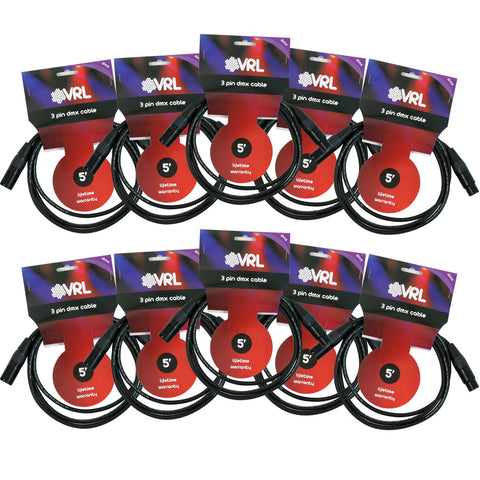 VRL DMX 3 Pin Cable 5' Length - 10 Pack