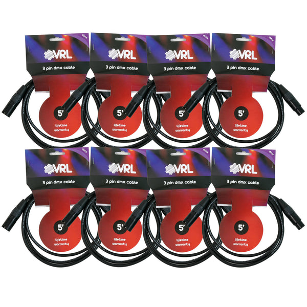 VRL DMX 3 Pin Cable 5' Length - 8 Pack