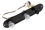 Fender Tele Telecaster Loaded 3 way Control Plate, Black w/Satin Dome Knobs
