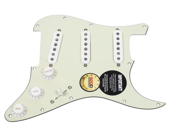 920D Custom Texas Vintage Pre-Wired Loaded SSS Pickguard Mint Green / White
