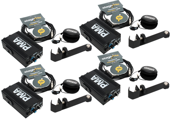 Elite Core 4-Pack of PMA Personal Monitor Listening Stations w/ EU-5X Earphones