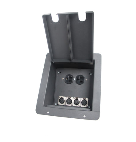 Elite Core FB4+AC Recessed Floor Box With 4 XLRF + Duplex AC