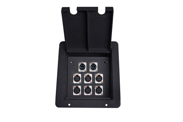 Elite Core FB8 Recessed Floor Box with 6 XLRF + 2 Ethernet Pass-Through Jack