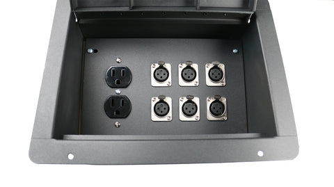 Elite Core FBL6+AC Recessed Floor Box With 6 XLRF + Duplex AC with Back Box