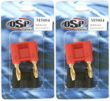 OSP Red/Black Banana Plugs - Two 2-Paks - 2 Red/2 Black