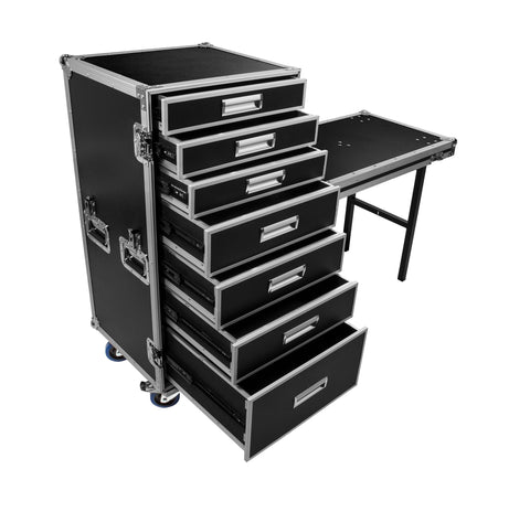 OSP PRO-WORK Utility Case with 7 Drawers and Standing Lid Table