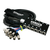 Elite Core 8 x 4 Channel 25' Pro Audio XLR Stage Box Snake Cable 8x4x25