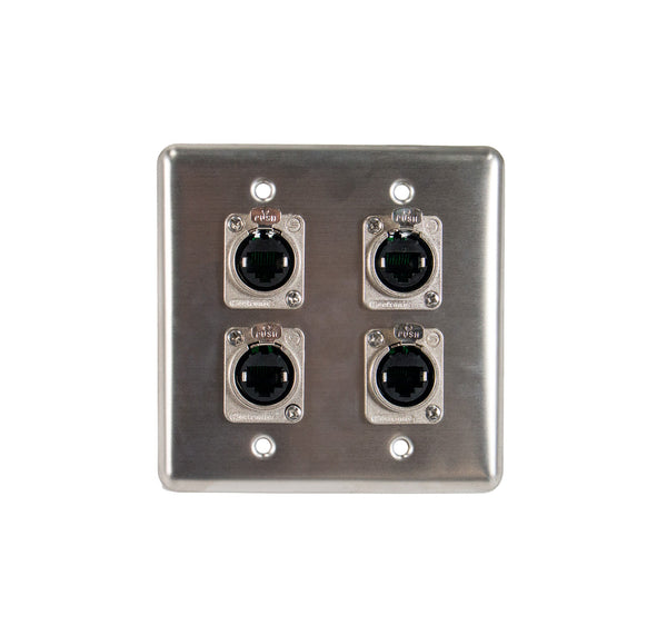 OSP Q-4-4E Quad Wall Plate w/ 4 Tactical Ethernet