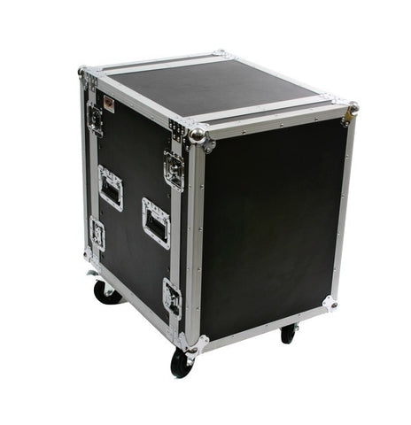 OSP ATA Deluxe 14 Space  Amp Rack Case w/Casters - Front & Back Rails