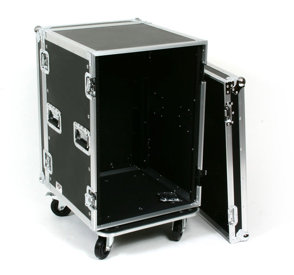 OSP Deluxe ATA 16 Space Amp Rack Case w/Casters  - Rails both Front and Back