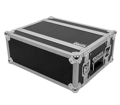 "Elite Core 4 Space 4 U ATA Rack Flight Case w/ Zipper Pouch Storage 19"" Wide"