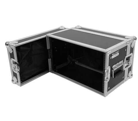 "Elite Core 6 Space 6 U ATA Rack Flight Case w/ Zipper Pouch Storage 19"" Wide"