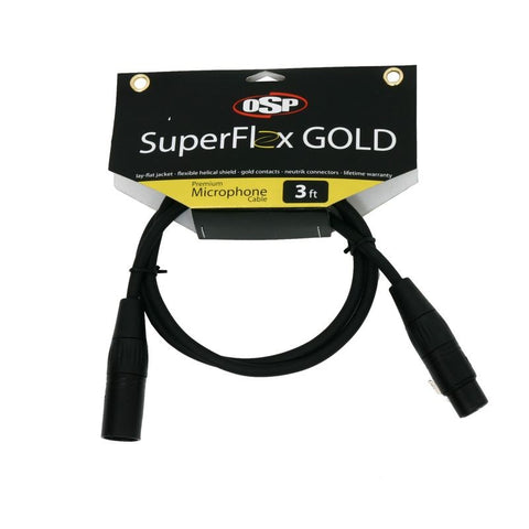 SuperFlex GOLD SFM-3 Premium Microphone Cable 3'