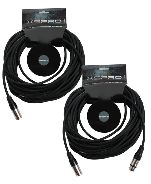 XSPRO XSM-50 2 Pack 50' Ft Foot Shielded Audio XLR Mic Microphone Cable