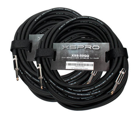 "XSPRO 50' 14 AWG 1/4"" to 1/4"" Speaker Cable-2 PAK"