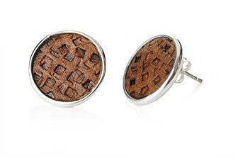Leather Up! (Grid) Stud Earrings