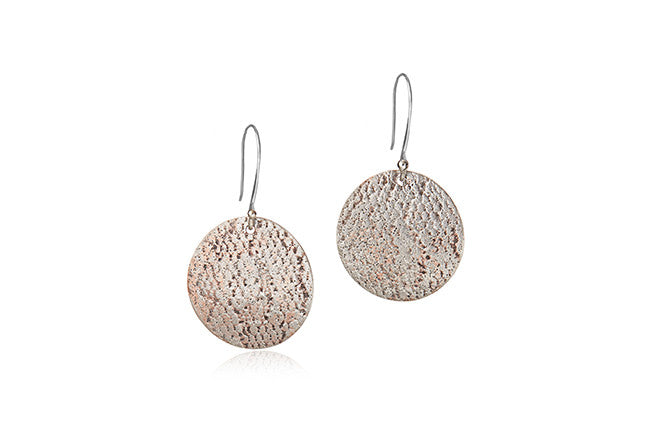 Sterling Silver with Copper Patina Circle Drop Earrings