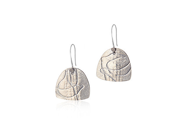 Sterling Silver Etched Drop Earrings