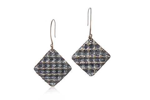Oxidized Sterling Silver Square Drop Earrings