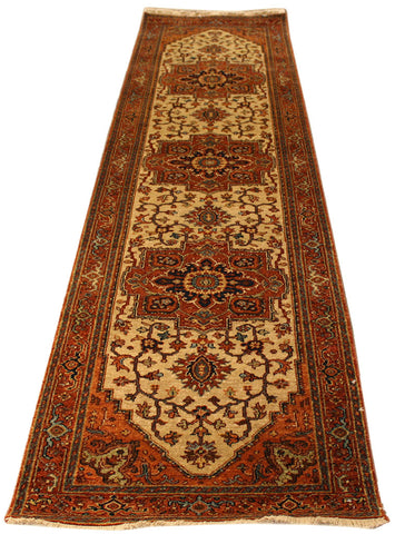 "2'6""x9'8"" Indo Persian Serapi carpet runner"