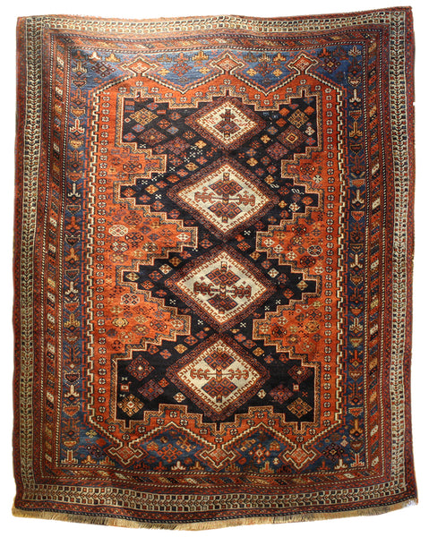 4.8x5.7 Antique Persian Afshar - Main Street Oriental Rugs