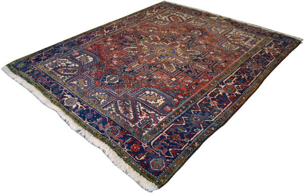 "6'9"" x 8'8"" Antique Persian Heriz - Main Street Oriental Rugs"