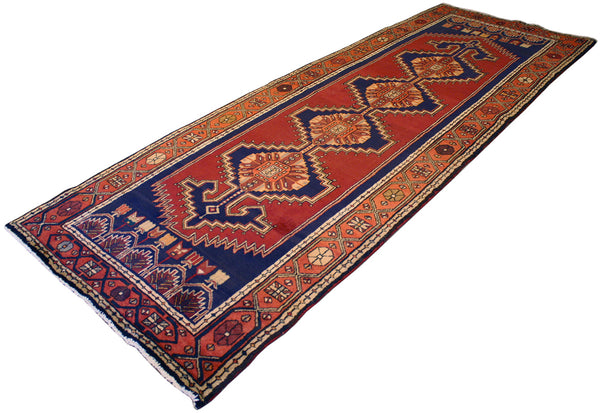 "3'10"" x 10'11"" Persian Geometric Hall Runner - Main Street Oriental Rugs"