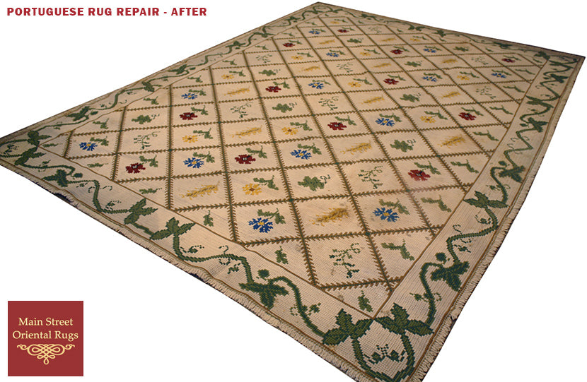 Needle point rug repair - Main Street Oriental Rugs