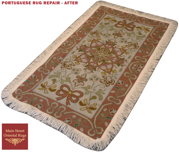 Portuguese needle point rug repair - Main Street Oriental Rugs