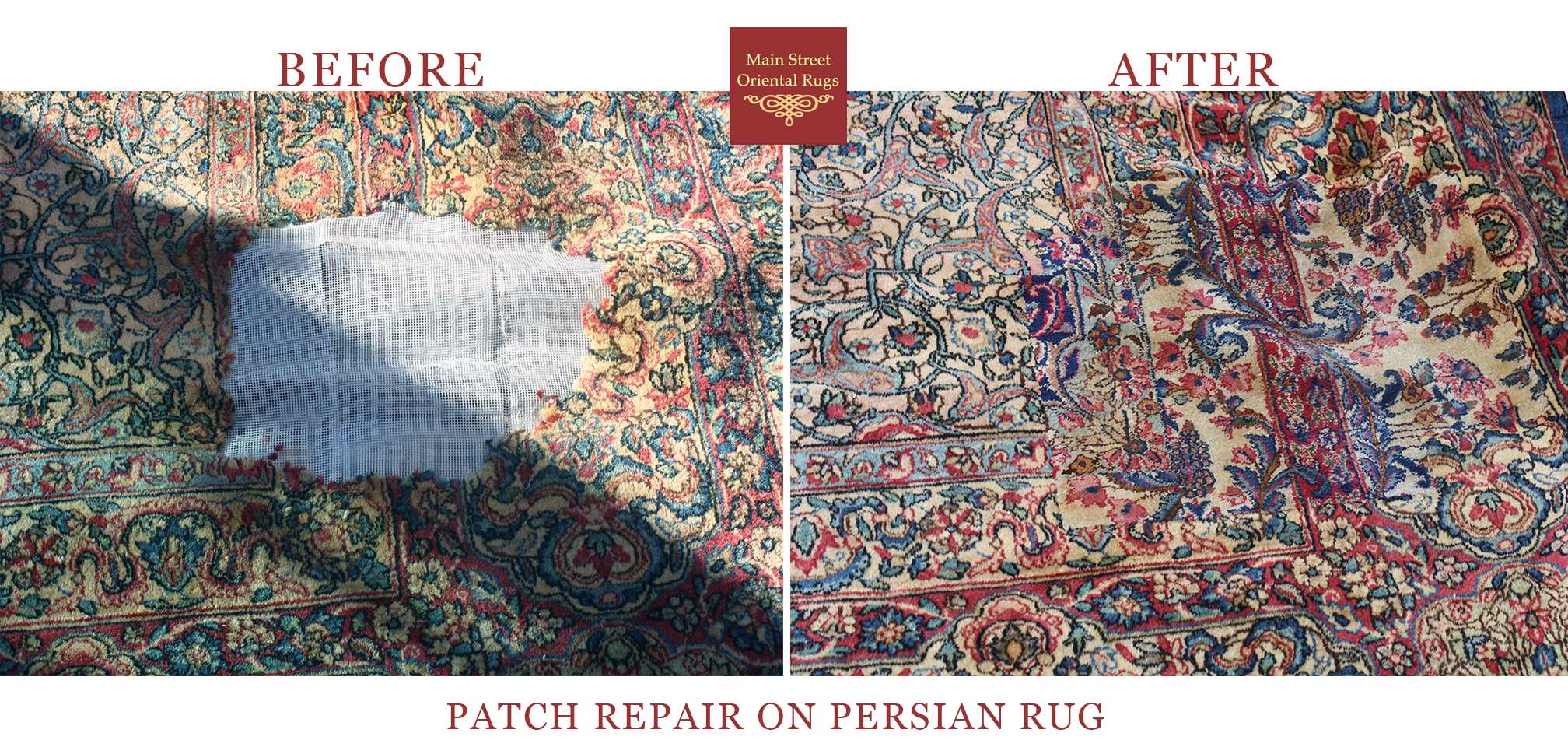 Persian rug patch repair - Main Street Oriental Rugs