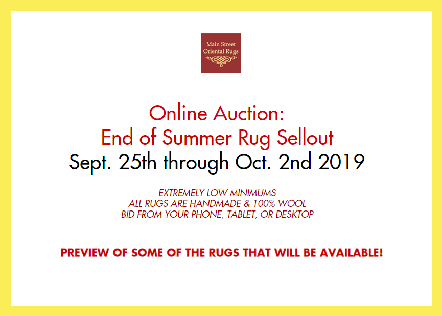 Online auction preview: end of summer rug sellout