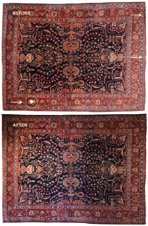 Expert Rug Repair Before - Main Street Oriental Rugs