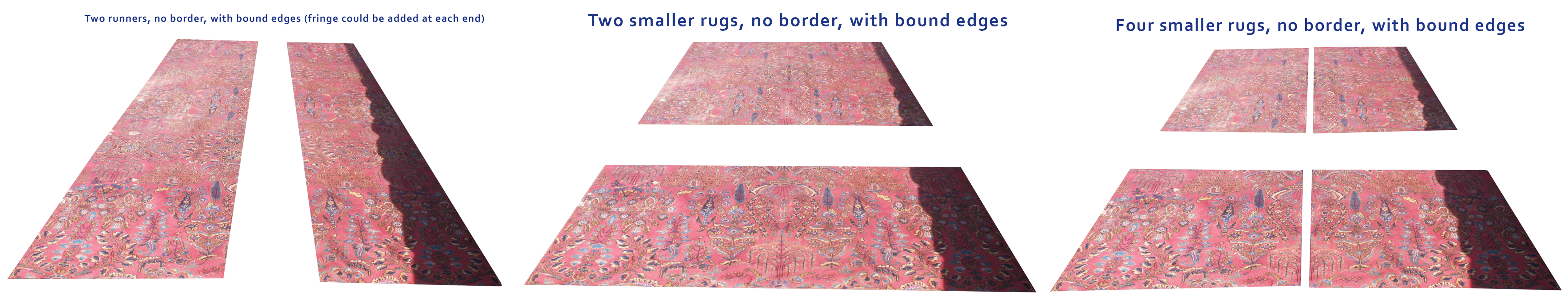 Area rug resizing options of Persian rug