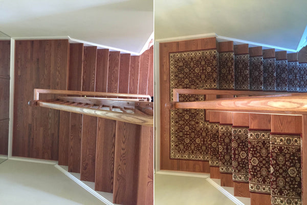 Stair runner installation by Main Street Oriental Rugs