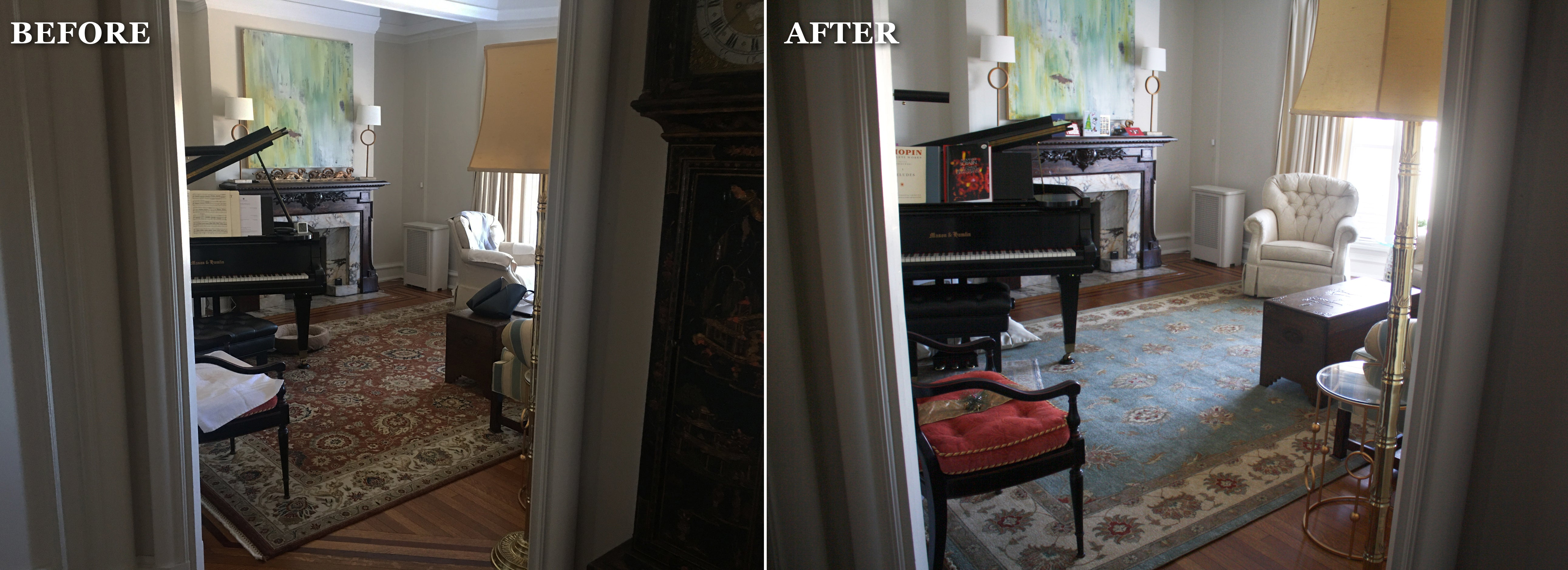 Interior design before and after with Persian rug