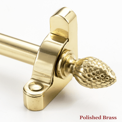 Stair rod with pineapple finial - polished brass