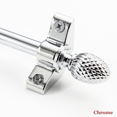 Stair rod with pineapple finial - chrome
