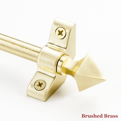 Stair rod with point finial - brushed brass